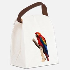 scarlet macaw peace love Canvas Lunch Bag