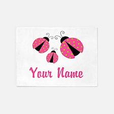 Ladybug Pink Personalized 5'x7'Area Rug