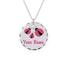 Ladybug Pink Personalized Necklace