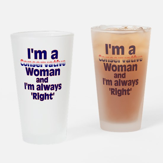 conservativewomanright2 Drinking Glass