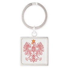 Polish Eagle Outlined In Red Square Keychain