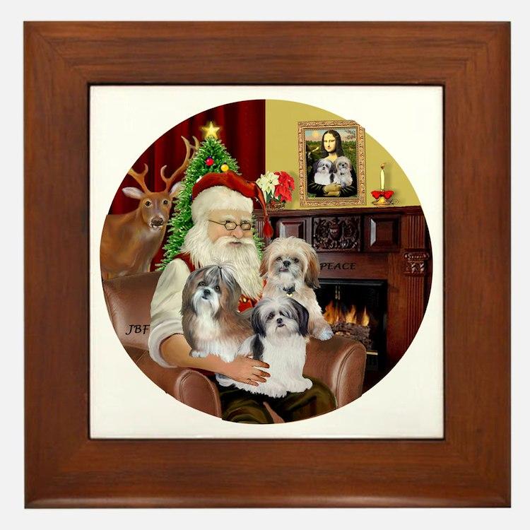 (R) - Santas Shih Tzus (THREE) Framed Tile