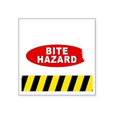 """Bite Hazard dark Square Sticker 3"""" x 3"""""""
