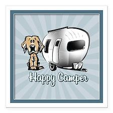 Happy Camper Dog Square Car Magnet 3&Quot; X 3&Quo
