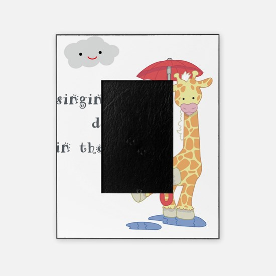giraffe in rain Picture Frame