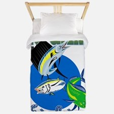 Sailfish dorado dolphin fish and bluefi Twin Duvet