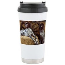 blue large print Travel Mug