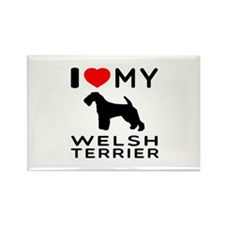 I love My Welsh Terrier Rectangle Magnet