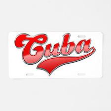 CubaRed_Dark Aluminum License Plate