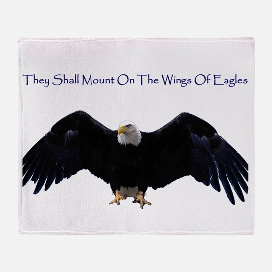 eagle wing spanhugetext Throw Blanket