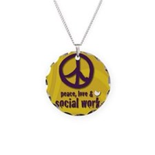 PeaceButton Necklace Circle Charm