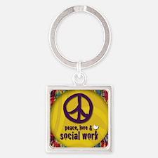 PeaceButton Square Keychain