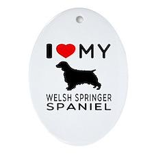 I love My Welsh Springer Spaniel Ornament (Oval)