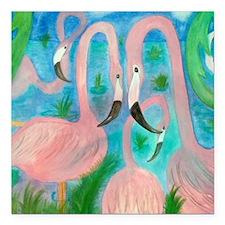 """Flamingo Party Stadium B Square Car Magnet 3"""" x 3"""""""