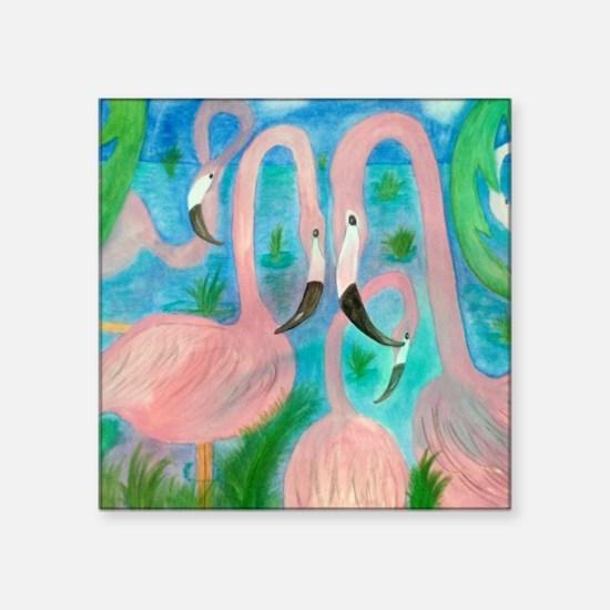 "Flamingo Party Stadium Blan Square Sticker 3"" x 3"""