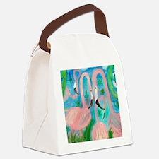Flamingo Party Stadium Blanket Canvas Lunch Bag