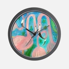 Flamingo Party Stadium Blanket Wall Clock