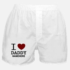 Personalized Name I Heart Daddy Boxer Shorts