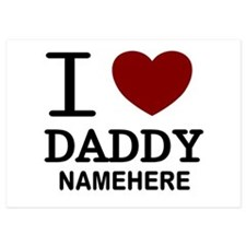 Personalized Name I Heart Daddy 5x7 Flat Cards