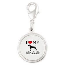 I love My Weimaraner Silver Round Charm