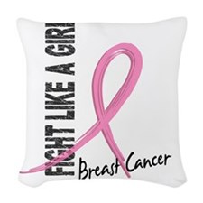 - Breast Cancer Fight Like a G Woven Throw Pillow