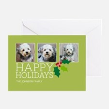 Add 3 Photos Holly Greeting Cards