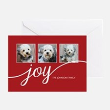 Add 3 Photos Joy Red Greeting Cards