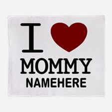 Personalized Name I Heart Mommy Throw Blanket