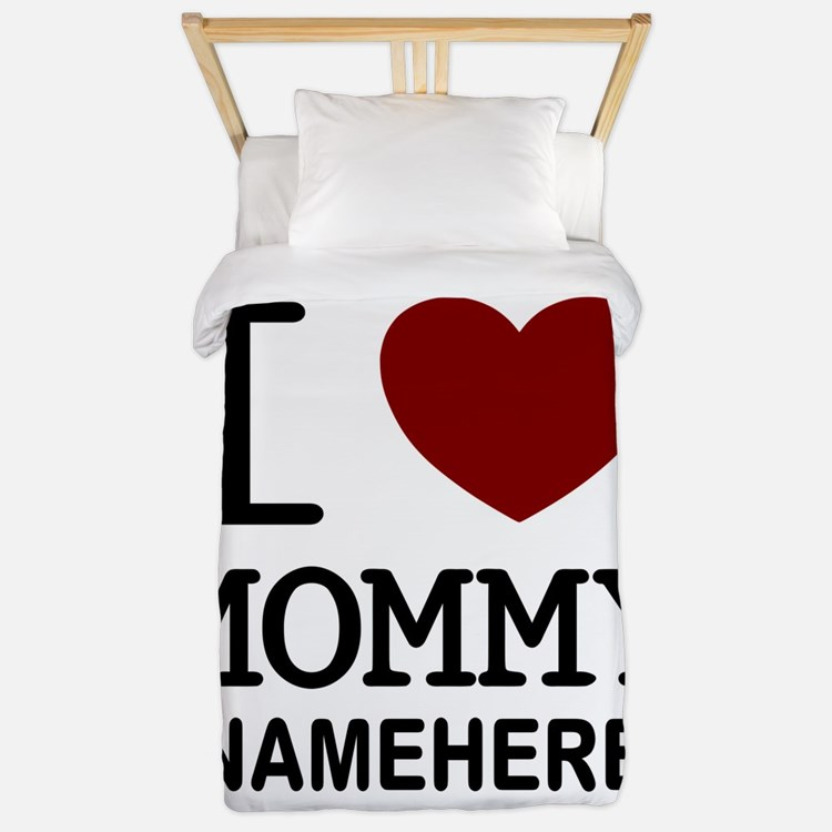 Personalized Name I Heart Mommy Twin Duvet