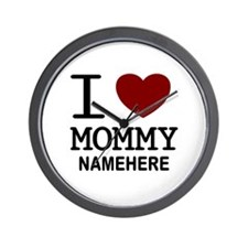 Personalized Name I Heart Mommy Wall Clock