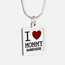Personalized Name I Heart Mommy Silver Square Neck