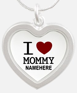 Personalized Name I Heart Mommy Silver Heart Neckl