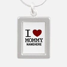Personalized Name I Heart Mommy Silver Portrait Ne