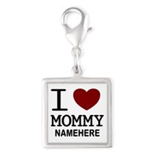 Personalized Name I Heart Mommy Silver Square Char