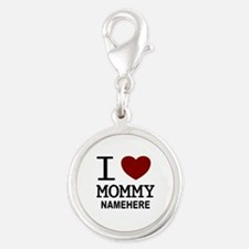 Personalized Name I Heart Mommy Silver Round Charm