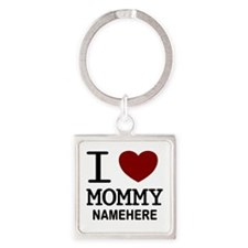 Personalized Name I Heart Mommy Square Keychain