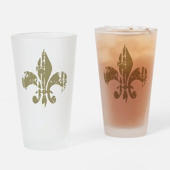 Distressed Fleur Drinking Glass