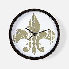 Distressed Fleur Wall Clock