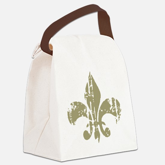 Distressed Fleur Canvas Lunch Bag