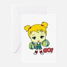 Blonde Cheerleader Greeting Cards (6)