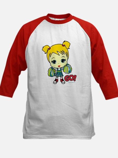Blonde Cheerleader Kids Baseball Jersey