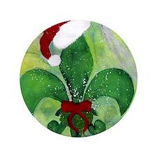 """Christmas fleur de lis throw blanket 3.5"""" Button"""