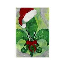 Christmas fleur de lis throw blan Rectangle Magnet