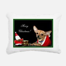 Merry christmas chihuahu Rectangular Canvas Pillow