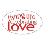 Celebrating Love Oval Sticker