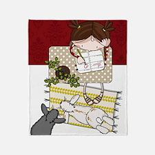 2 bunnies and a cute girl Throw Blanket