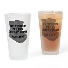 Navy Aunt Nephew Combat Boots Drinking Glass