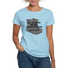 Navy Aunt Nephew Combat Boots T-Shirt