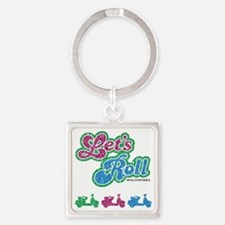 letsrolldistressed Square Keychain