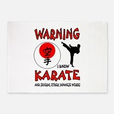 KARATE WARNING 5'x7'Area Rug
